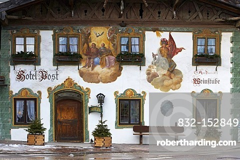 Mural painting in Wallgau, Bavaria, Germany, Europe