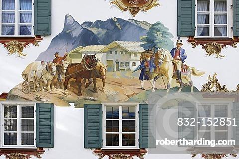 Mural painting in Oberammergau, Bavaria, Germany, Europe