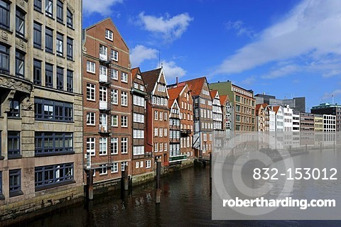 Merchants' houses along the Alster River at the Nikolaifleet estuary mouth, Hamburg, Germany, Europe