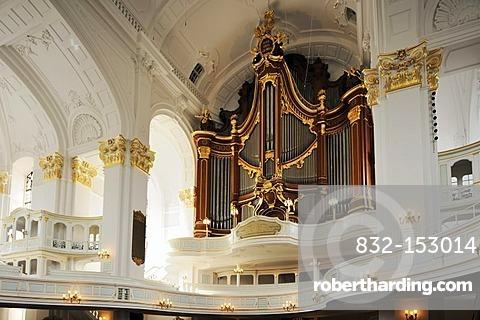 Interior view of the baroque St. Michaelis Church with organ, Hamburg, Germany, Europe