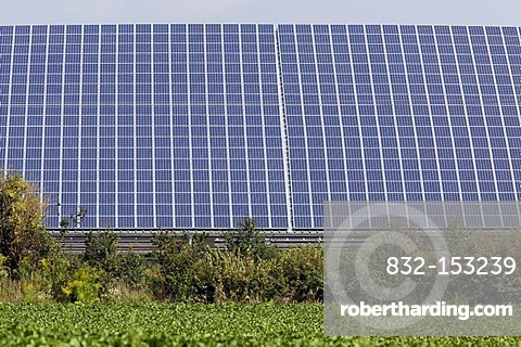 Solar energy system in an open area near Plattling, Bavaria, Germany, Europe