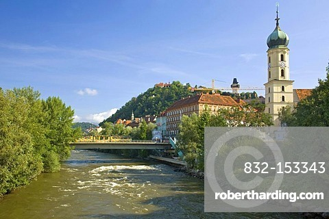 View of the Mur River in Graz, Austria, Europe