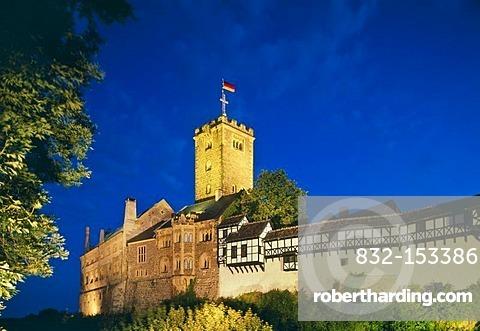 Wartburg castle at night, Eisenach, Thuringia, Germany, Europe