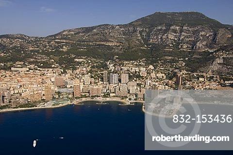 Aerial view, Larvotto beach, Monte Carlo, Monaco, Cote d'Azur, Europe