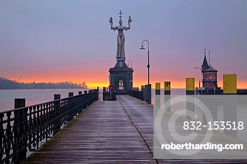 Imperia statue in the morning light, port of Konstanz, Baden-Wuerttemberg, Germany, Europe