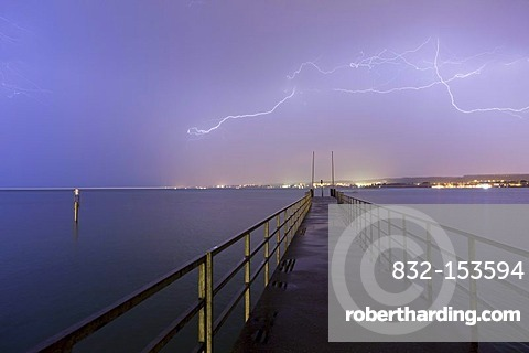 Thunderstorm and a landing stage on Lake Constance, Konstanz, Baden-Wuerttemberg, Germany, Europe