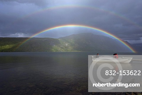 Rainbow and boat on Lake Teusajaure, Kungsleden, The King's Trail, Lapland, Sweden, Europe