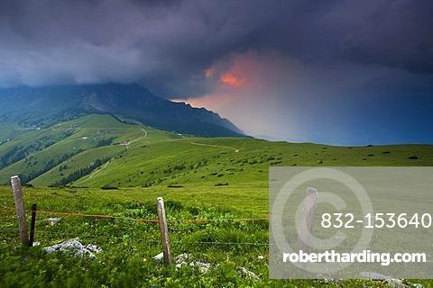 Stormy atmosphere at Alvier Mountain, St. Gallen, Switzerland, Europe
