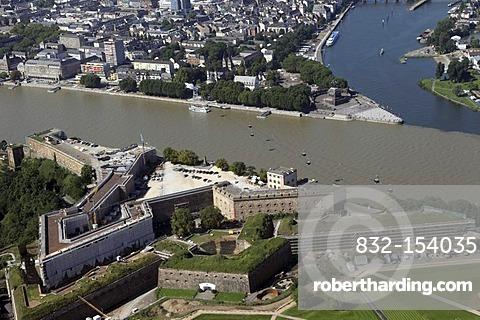 Aerial view, site of the Federal Garden Show, in the front, Ehrenbreitstein Fortress, Koblenz, Rhineland-Palatinate, Germany, Europe