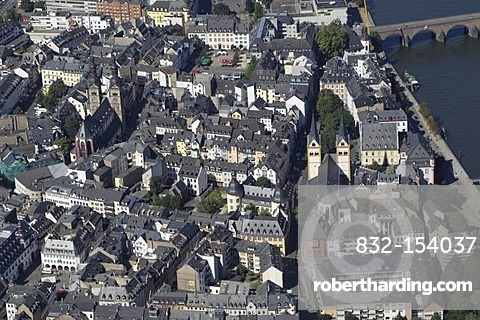 Aerial view, historic town centre, Koblenz, Rhineland-Palatinate, Germany, Europe