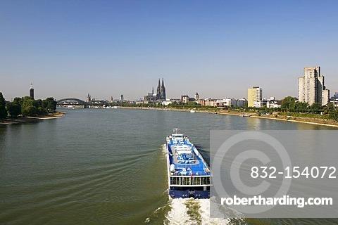 Rhine River, looking towards the Messeturm, trade fair tower, Hohenzollernbruecke Bridge, Cologne Cathedral, Cologne, North Rhine-Westphalia, Germany, Europe