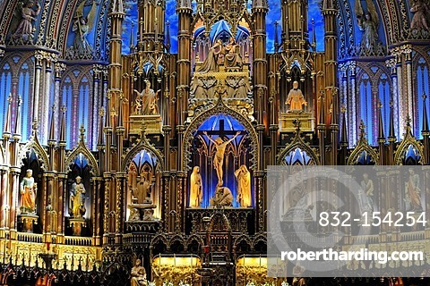 The altar area of the Basilica of Notre Dame in the old town of Montreal, Quebec, Canada