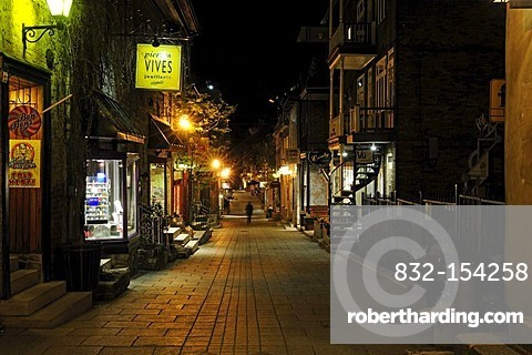 The Rue Champlain crosses the historic old town of Quebec City, Quebec, Canada