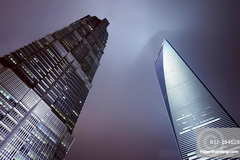 Illuminated Jin Mao Tower and Shanghai World Financial Center at night, SWFC Building, Shanghai, China, Asia