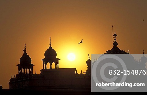 Domes of the Golden Temple, shrine of the Sikh, sunset, Amritsar, India, Asia