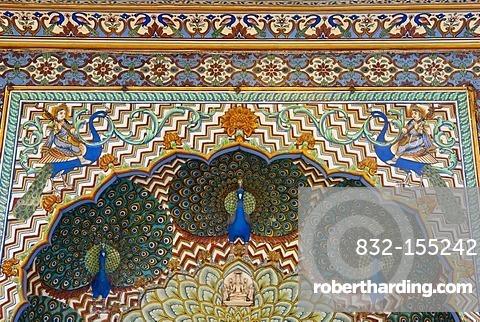 Monsungate at City Palace, blue peacocks, Jaipur, Rajasthan, India, Asia