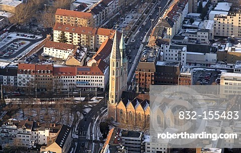 Aerial view of the St Katharinen Kirche church and Hagenmarkt square, Brunswick or Braunschweig, Lower Saxony, Germany, Europe