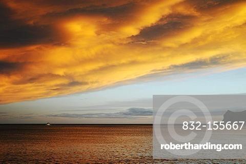 Sunset, clouds, sea, evening sky, Altea, Alicante province, Costa Blanca, Spain, Europe