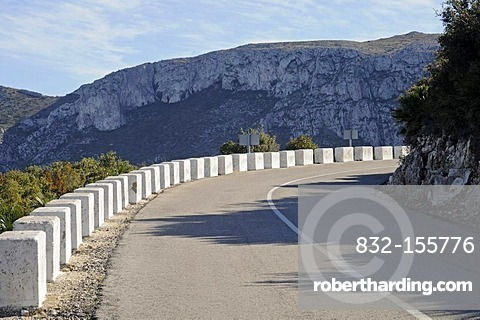 Country road, mountain road, bend, landscape, Marina Alta area, Costa Blanca, Alicante province, Spain, Europe