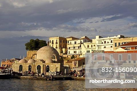 Janissary Mosque and promenade, Venetian Harbor, Chania, Crete, Greece, Europe