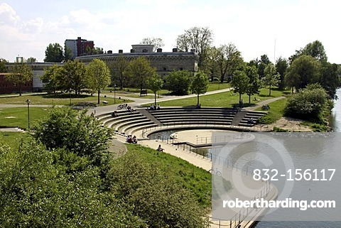 Donaubuehne stage, Klenzepark, Reduit Tilly fortress, Ingolstadt, Bavaria, Germany, Europe