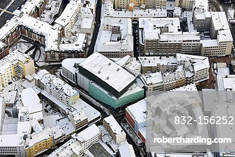 Aerial view, Konzerthaus Dortmund opera house in the snow, Brueckstrasse street, Dortmund, Ruhrgebiet region, North Rhine-Westphalia, Germany, Europe