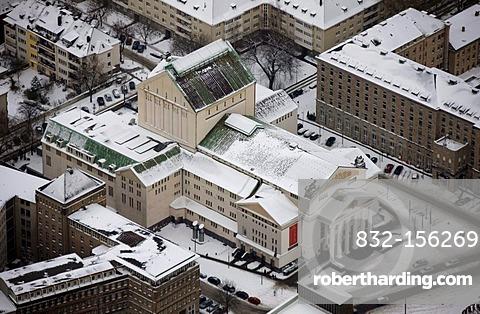 Aerial view, Stadttheater municipal theater in the snow, Duisburg, Ruhrgebiet region, North Rhine-Westphalia, Germany, Europe