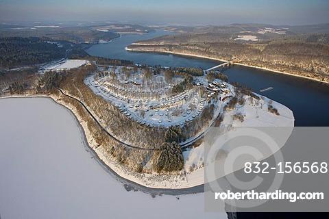 Aerial photo, Biggesee Reservoir in the snow in winter, Olpe, Sauerland, North Rhine-Westphalia, Germany, Europe