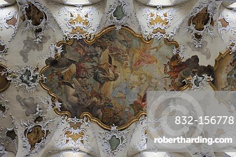 Baroque ceiling painting, parish church St. Jakob, Pfullendorf, Baden-Wuerttemberg, Germany, Europe