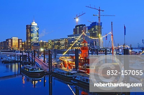 The lightship at the marina in the Hamburg harbor, in the back the HTC Hanseatic Trade Center, Hamburg, Germany, Europe