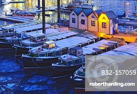 Barges in the wintery marina in the Hamburg harbor, Hamburg, Germany, Europe