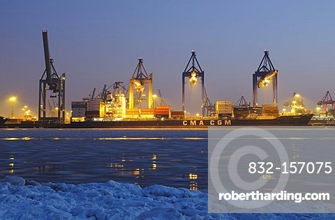A container ship is unloaded in the port of Hamburg, Burchardkai terminal, Hamburg, Germany, Europe