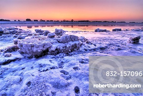 Icy landscape along the Elbe river in the Kirchwerder quarter, Hamburg, Germany, Europe