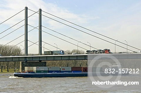 Theodor Heuss Bridge and River Rhine at Duesseldorf, North Rhine-Westphalia, Germany, Europe