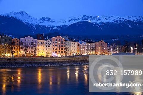Mariahilf district on the Inn riverside, dusk, Karwendel Mountains, provincial capital Innsbruck, Tyrol, Austria, Europe