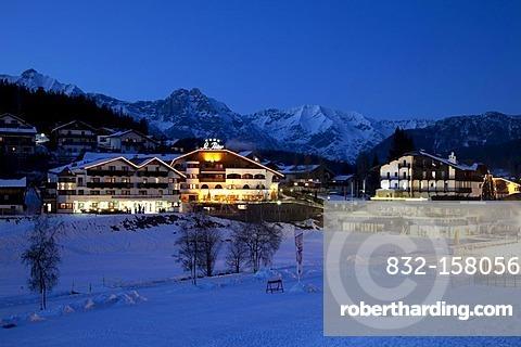 Townscape at twilight, Seefeld, Wetterstein Range, Tyrol, Austria, Europe
