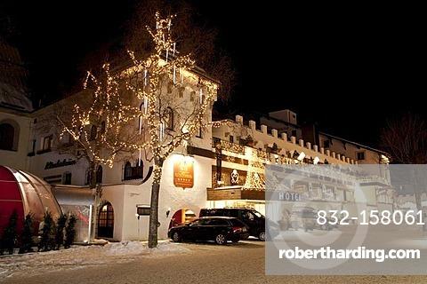 Klosterbraeu Hotel at night, 5 star spa hotel, Christmas lighting, Seefeld, Tyrol, Austria, Europe