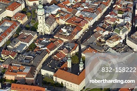 Aerial photo, Klagenfurt, house, parish church, Carinthia, Austria, Europe