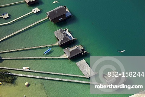Beach huts at lake Klopeiner, aerial photo, Carinthia, Austria, Europe