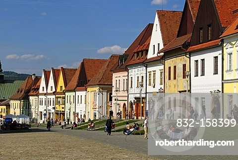Colorful historic houses at the city, market square of Bardejov, Unesco World Heritage Site, Slovakia, Eastern Europe