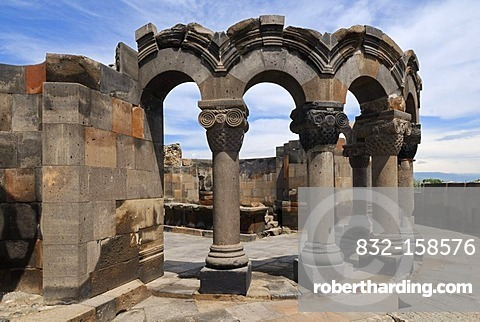 Ruin of the Zvartnots, Zwartnots temple or Cathedral of St. Gregory, UNESCO World Heritage Site, Armenia, Asia