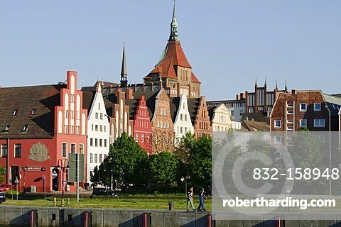 Gables of the old town and Marienkirche church, Rostock, Mecklenburg-Western Pomerania, Germany, Europe