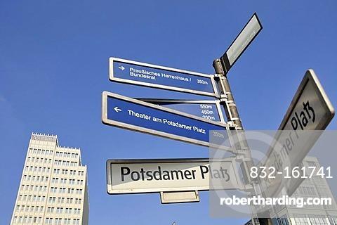 Street signs on Potsdamer Platz, Berlin, Germany, Europe