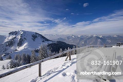 Mt. Setzberg and Bavarian Alps seen from Mt. Wallenberg, Upper Bavaria, Bavaria, Germany, Europe