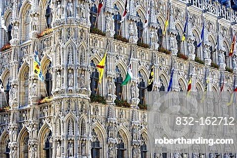Gothic Town Hall of Leuven at Grote Markt square, Belgium, Europe