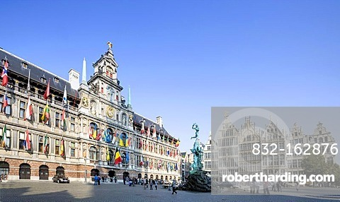 Guild houses and Silvius Brabo fountain with the city hall on the Grote Markt square, Antwerp, Flanders, Belgium, Europe