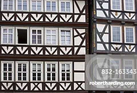 Building facades in Hannoversch Muenden, Hesse, Germany, Europe
