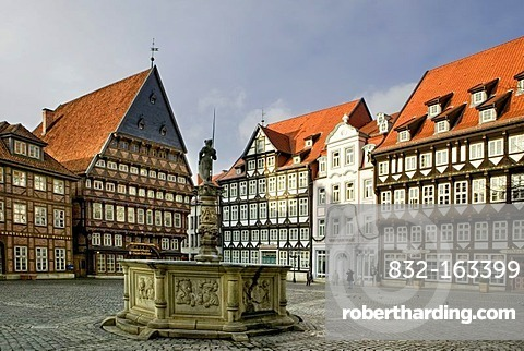 The marketplace with the Stadtmuseum municipal museum in the Knochenhaueramtshaus building, Hildesheim, Lower Saxony, Germany, Europe