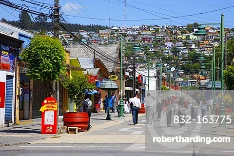 Main road, mining town of Lota, Chile, South America