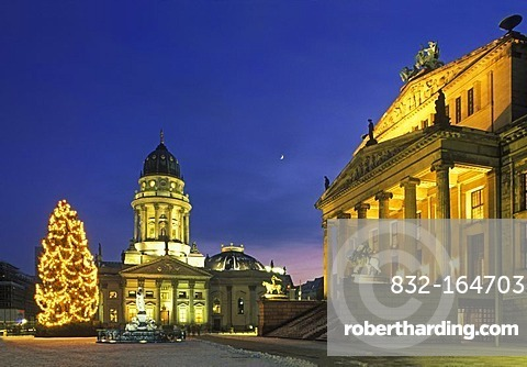 Gendarmenmarkt square with Christmas tree and moon, Schauspielhaus theater, Deutscher Dom cathedral, Mitte district, Germany, Europe